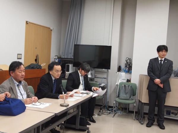 期日後の記者会見(宮崎弁護士会館)